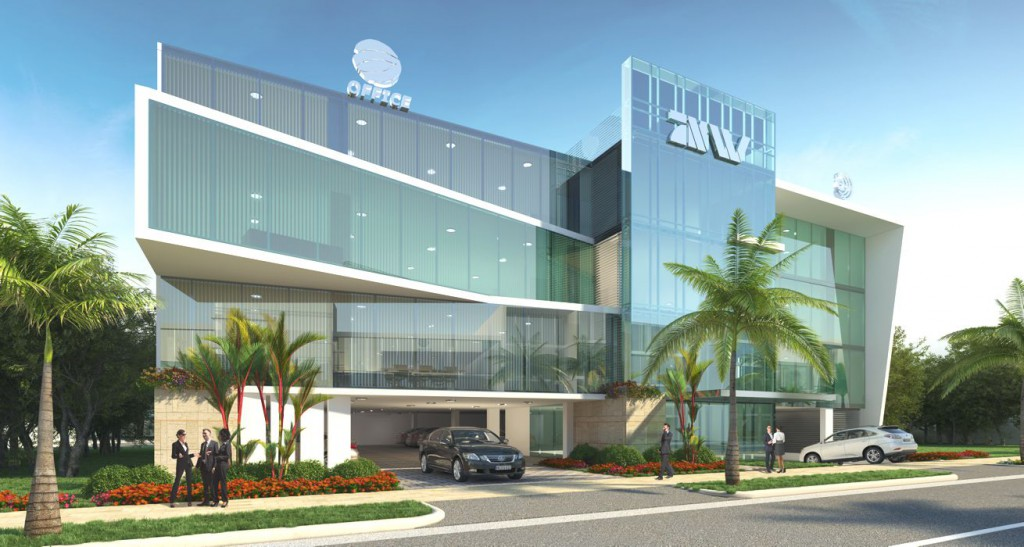 El proyecto panama viejo business center for Fachadas de oficinas modernas